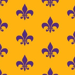 purple and gold fleur de lis fabric, lsu, louisiana fabric - gold