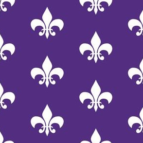 purple and gold fleur de lis fabric, lsu, louisiana fabric - purple and white