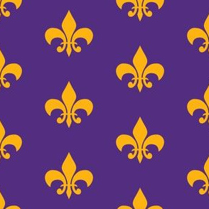purple and gold fleur de lis fabric, lsu, louisiana fabric - purple