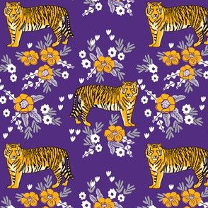 purple and gold tigers floral fabric - purple florals fabric, sports fabric, lsu, louisiana