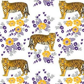 purple and gold tigers floral fabric - lsu, louisiana fabric, tigers fabric, florals fabric, sports fabric