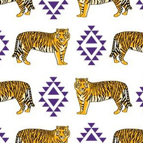 purple and gold aztec tigers - gold fabric, purple fabric, lsu fabric, lsu, louisiana fan fabric -  white