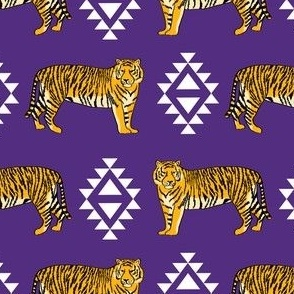 purple and gold aztec tigers - gold fabric, purple fabric, lsu fabric, lsu, louisiana fan fabric - purple