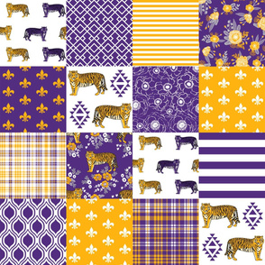 louisiana tigers cheater quilt - purple and gold, sports, college sports, wholecloth, cheater quilt, fabric, lsu - florals