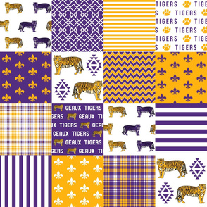 louisiana tigers cheater quilt - purple and gold, sports, college sports, wholecloth, cheater quilt, fabric, lsu