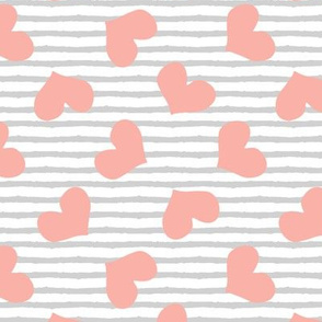 pink hearts tossed || stripes C19BS