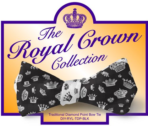 DIY Bow Tie - Royal Crowns - Black & White