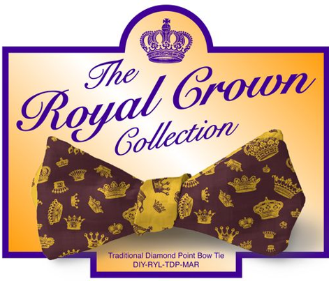 DIY Bow Tie - Royal Crowns - Maroon & Yellow