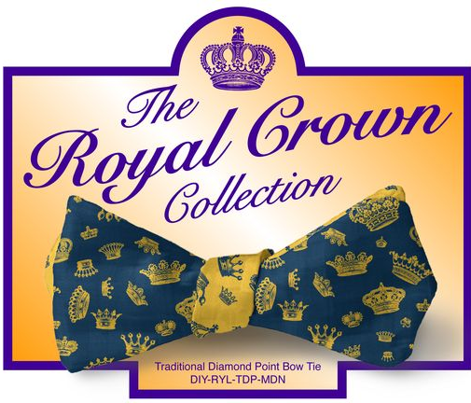 DIY Bow Tie - Royal Crowns - Midnight Blue & Yellow