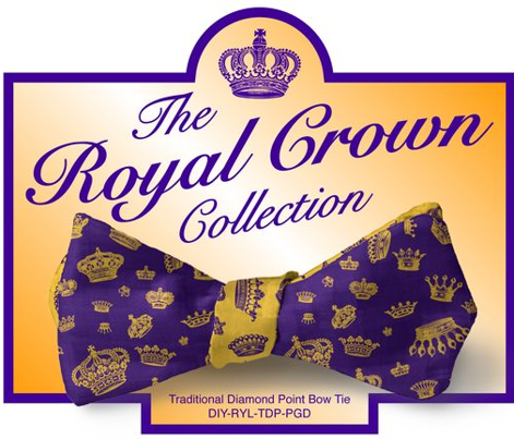 DIY Bow Tie - Royal Crowns - Royal Purple & Golden Yellow