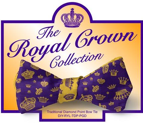 DIY Bow Tie - Royal Crowns - Royal Purple & Golden Yellow