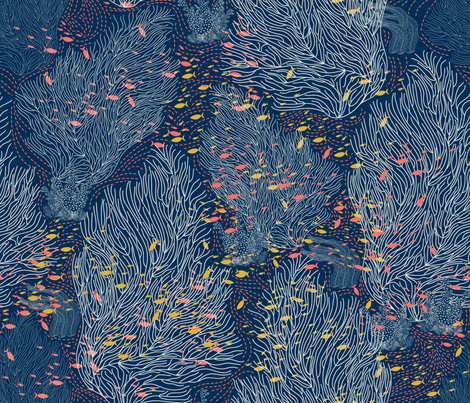 Coral Reef and Small Fishes fabric by y_me_it's_me on Spoonflower - custom fabric