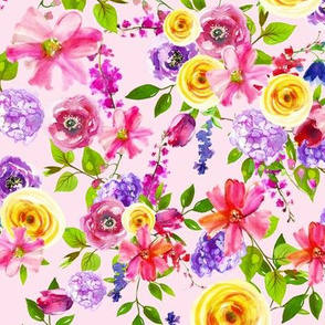 Yellow Pink Watercolor Floral Summer Spring Floral Yellow Flowers Bright Green