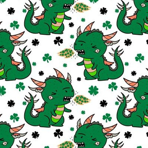 Boy Shamrock Dragons on White Boy Saint Patrick's Day St. Patrick's Day