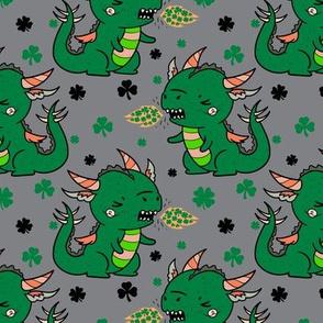Shamrock Dragons on Charcoal St. Patrick's Day Saint Patrick's Day