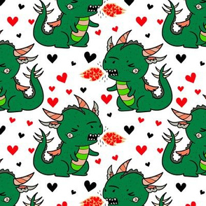 Boy Valentine Dragons on White
