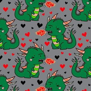 Boy Valentine Dragons on Gray