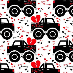 Boy Valentine Monster Trucks Hearts Arrows on White