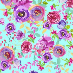 Bright Mint Purple Pink Gold Watercolor Floral Spring and Summer