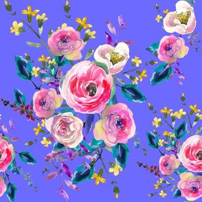 Spring Summer Watercolor Floral Pink Purple Yellow