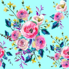 Bright Mint Lovely Floral Watercolor Floral