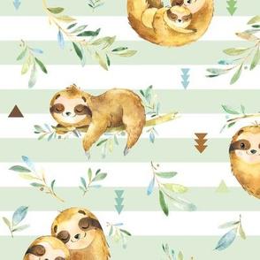 Sloths Hangin On, Soft Green Stripe – Children's Bedding Baby Boy Nursery, LARGE Scale