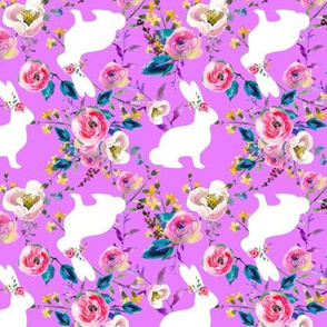 Purple Watercolor Floral White Easter Bunnies Spring Easter Floral