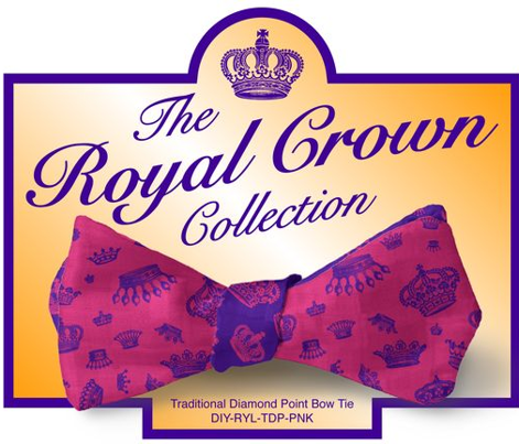 DIY Bow Tie - Royal Crowns - Hot Pink & Royal Purple