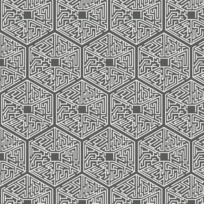 Hexagon White On Grey