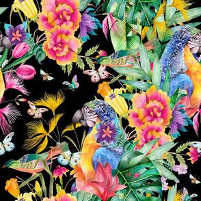 LARGE PARROT TROPICAL LUXURIANCE BLACK BIRDS FLOWERS BUTTERFLIES watercolor