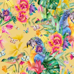 LARGE PARROT TROPICAL LUXURIANCE BUTTER YELLOW BIRDS FLOWERS BUTTERFLIES WATERCOLOR