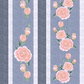 Old Fashioned Coral Pink Roses on Colonial Blue Stripes