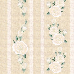Old Fashioned Cream Roses on Cream Stripes