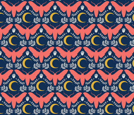 Large Moth and Moon-Blush fabric by amber_moon on Spoonflower - custom fabric