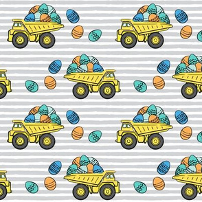 dump trucks with easter eggs - orange and blue on grey stripes - LAD19