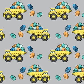 dump trucks with easter eggs - grey stripes - LAD19