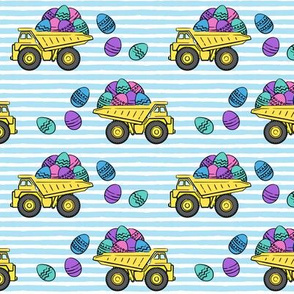 dump trucks with easter eggs - blue stripes - LAD19