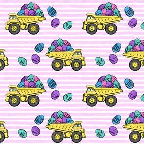 dump trucks with easter eggs - pink stripes - LAD19