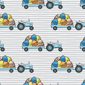 tractors with Easter eggs - grey stripes - LAD19