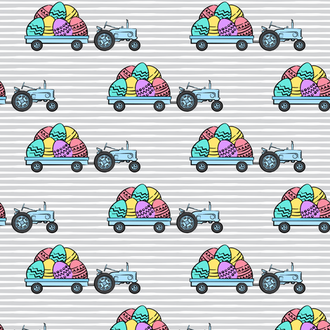 tractors with Easter eggs - brights on grey stripes - LAD19 fabric by littlearrowdesign on Spoonflower - custom fabric