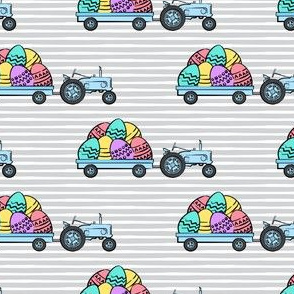 tractors with Easter eggs - brights on grey stripes - LAD19