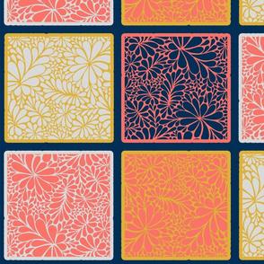 Coral Doodle Squares