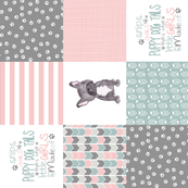 Puppy Tails//Girls - Wholecloth Cheater Quilt - Rotated