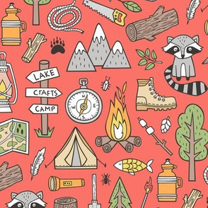 Outdoors Camping Woodland Doodle with Campfire, Raccoon, Mountains, Trees, Logs on Coral