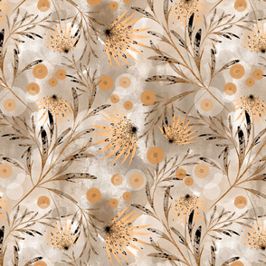 Gold flowers on beige background.