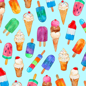 Watercolor Summer Ice Creams on Light Blue - Large