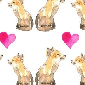 19-01Y Watercolor Fox Love Valentine _ Miss Chiff Designs