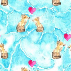 Fox Valentine Animal Love Cloud Blue _ Miss Chiff Designs