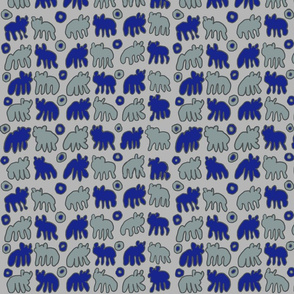 Blue and Aqua Tribal Bears design on gray