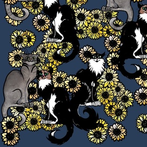 Sunflower Cats Le Chat Noir Calico and Grey